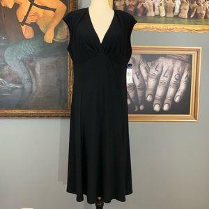Chaps Empire Waist Black Sleeveless Dress NWT
